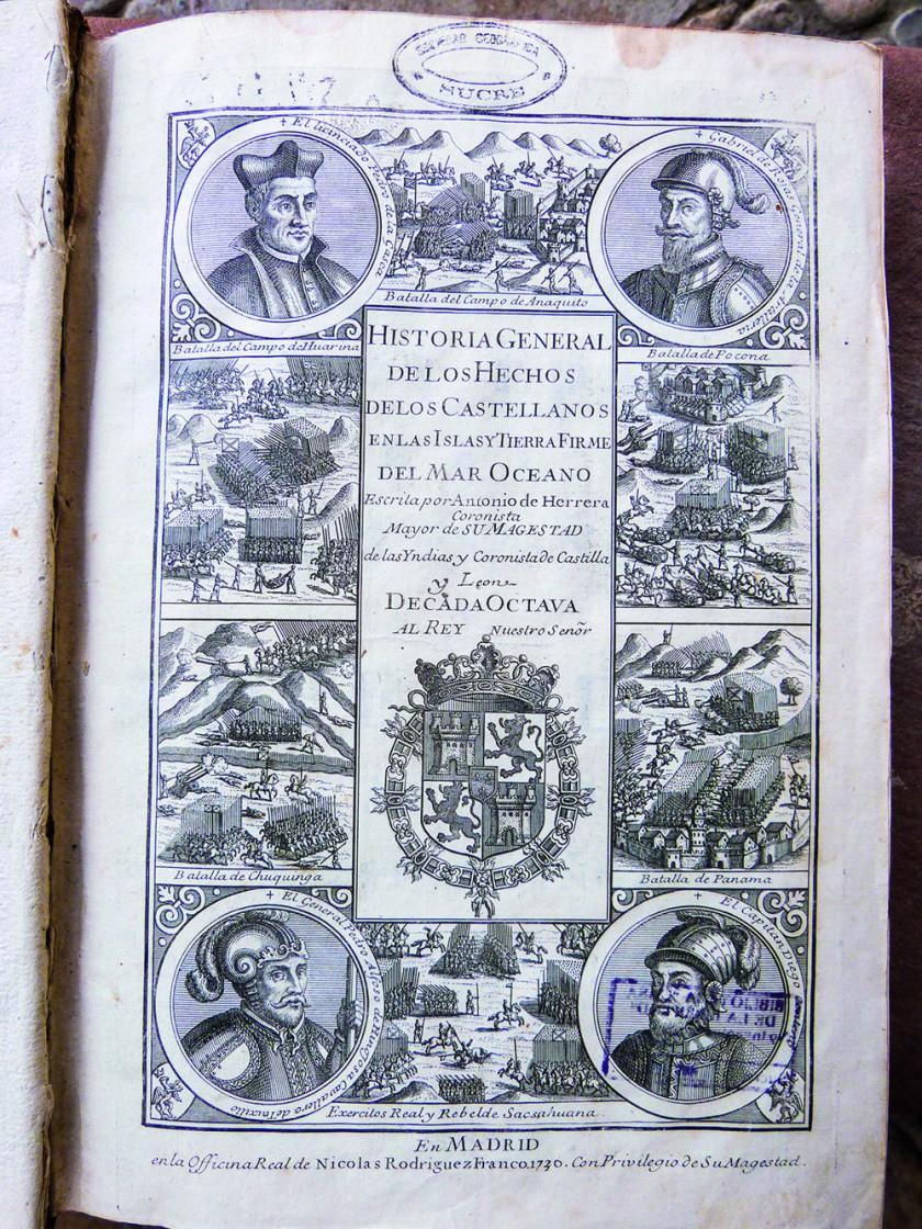 Tapa del libro comúnmente conocido como 'de las Décadas' (1613), que recoge las crónicas de las campañas de los...