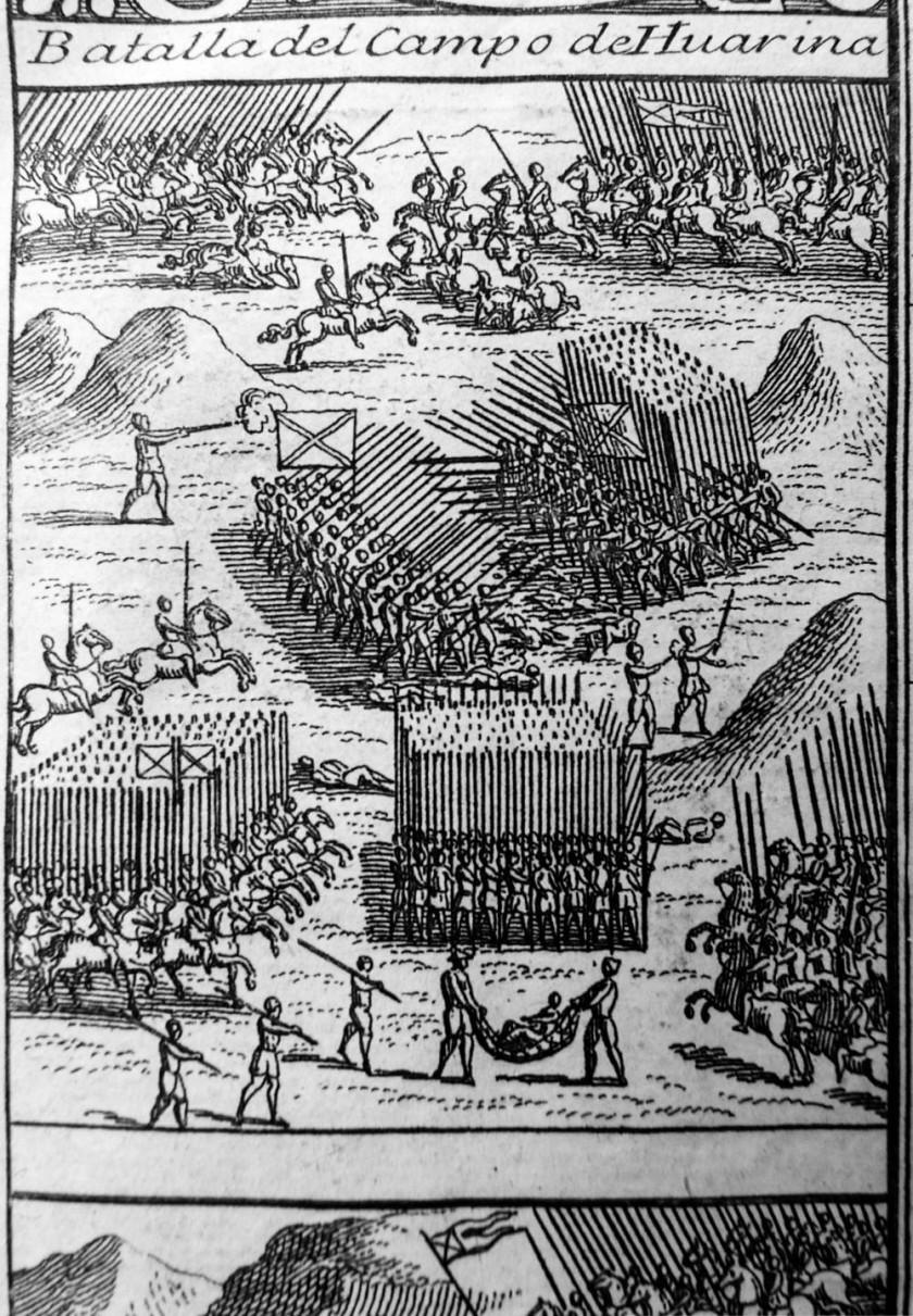 """En esta representación de la Batalla de Huarina, del libro """"Historia General de los Hechos..."""", se ve a los platenses..."""