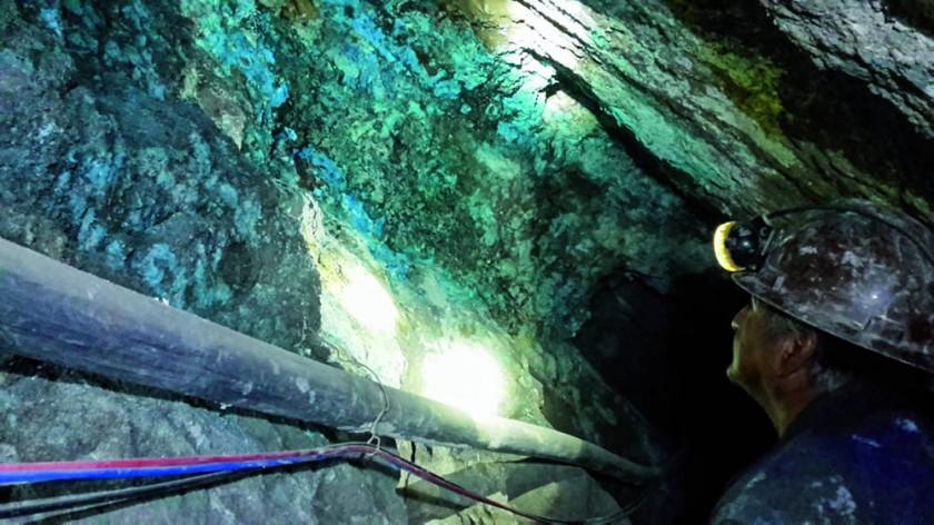 El guía señala las vetas del mineral.