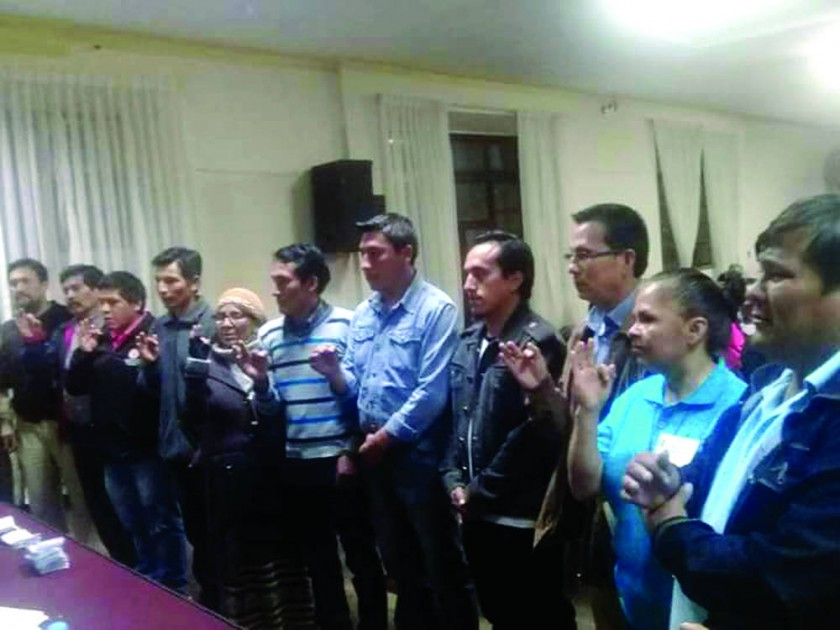 sucre. El directorio del Comité Cívico de Intereses de Chuquisaca después de la elección, al promediar las 22:30.