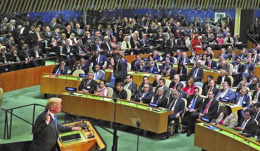 Disputa. El presidente de Estados Unidos, Donald Trump, se dirige por primera vez a la Asamblea General de la ONU en Nue
