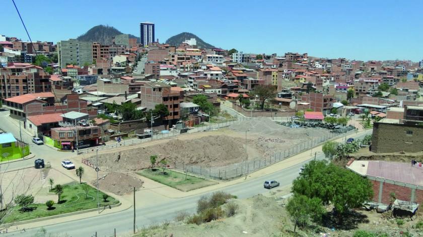 La cancha de Valle Hermoso es ahora una zona de trabajo.