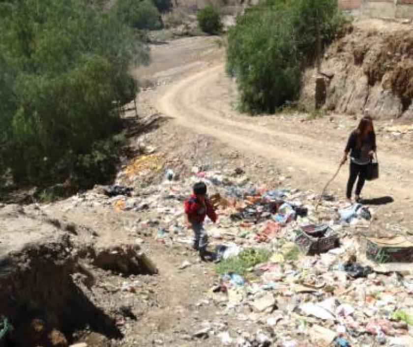 CONTAMINACIÓN. Gran cantidad de basura acumulada a pocos metros de la avenida.