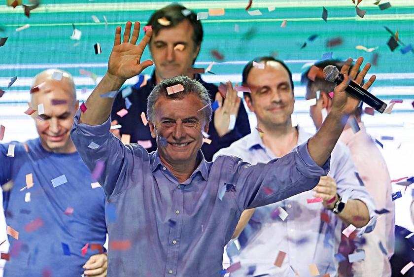 CELEBRACIÓN. El presidente argentino Mauricio Macri celebró la victoria de su frente.