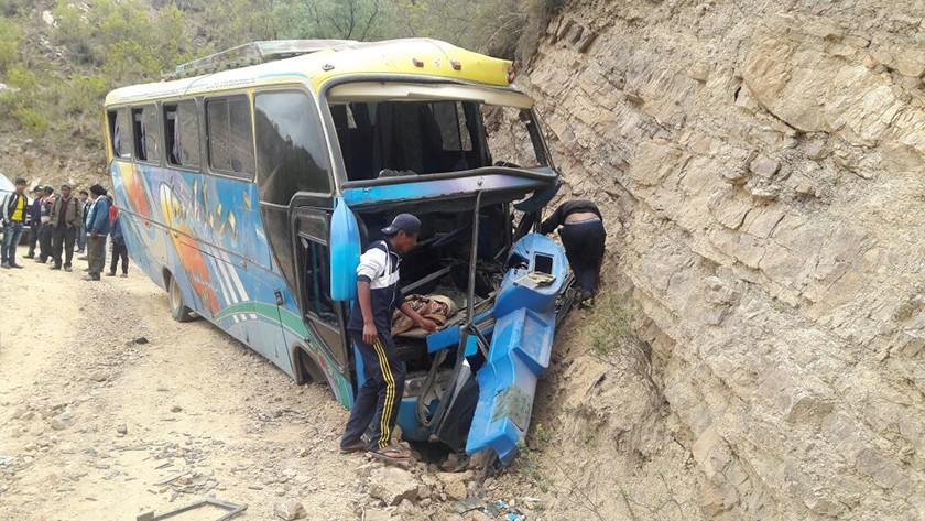 El accidente ocurrido en el tramo Sucre-Poroma. FOTO: Gentileza Mancomunidad Chuquisaca Norte