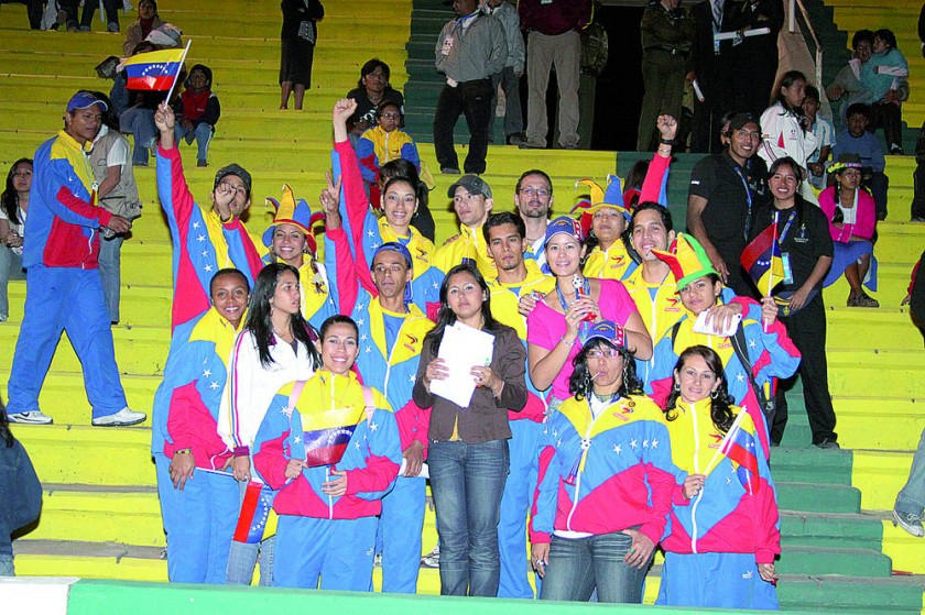 Parte de la delegación venezolana, campeona de los Juegos.