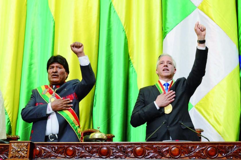 MANDATARIOS. El presidente Evo Morales y el vicepresidente Álvaro García Linera recién podrían postularse en 2024...