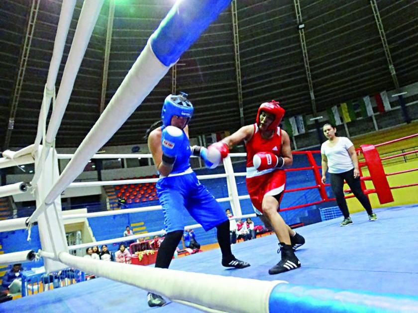 Los boxeadores clasificados a los Juegos Odesur; abajo, un pasaje de la pelea de Teresa Durán.