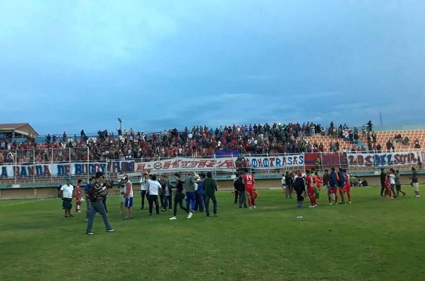 El festejo de los jugadores en Sacaba. Foto: Gentileza