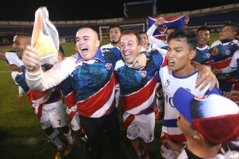 La celebración de los jugadores de Royal Pari. Foto:El Deber