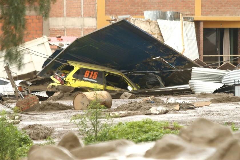 Varias familias están afectadas por desborde del río en Tiquipaya. Foto: Facebook Marcelo Zambrana
