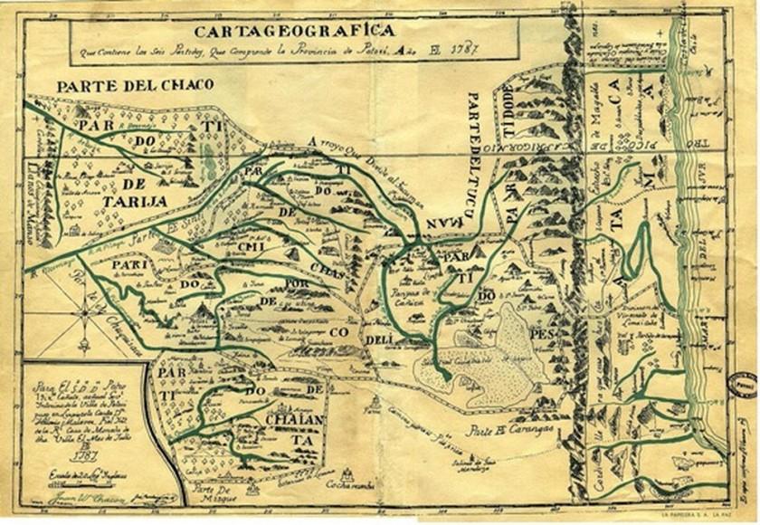 ubicación. Carta Geográfica de Vicente Cañete y Domínguez, al lado derecho está Atacama con el Litoral,1787