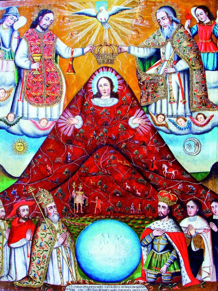 La Virgen del Cerro es un cuadro del siglo XVIII y en él están las leyendas de Wayna Qhapaq y Diego Huallpa.