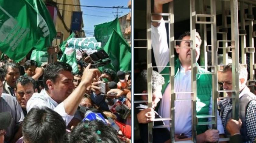 Imágenes del alcalde José María Leyes, la tarde de hoy. Página Siete
