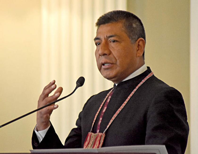 PRO TÉMPORE.  El canciller Fernando Huanacuni al frente de UNASUR.