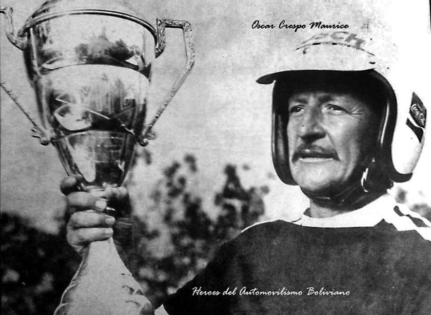 """El chuquisaqueño Oscar Crespo Maurice, denominado """"Caballero de las Rutas"""", durante una de sus competencias en el..."""