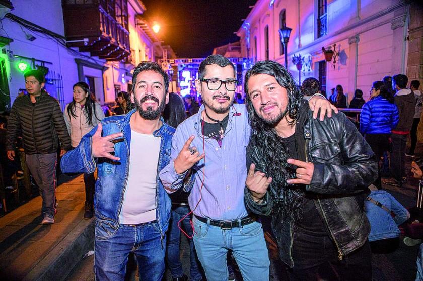 """Pacho Cabezas, Marco Antonio Chumacero y Hugo """"Yote"""" Palacios."""