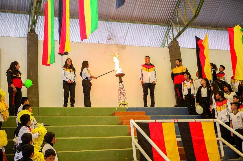El encendido de la llama de los Juegos Nacionales.