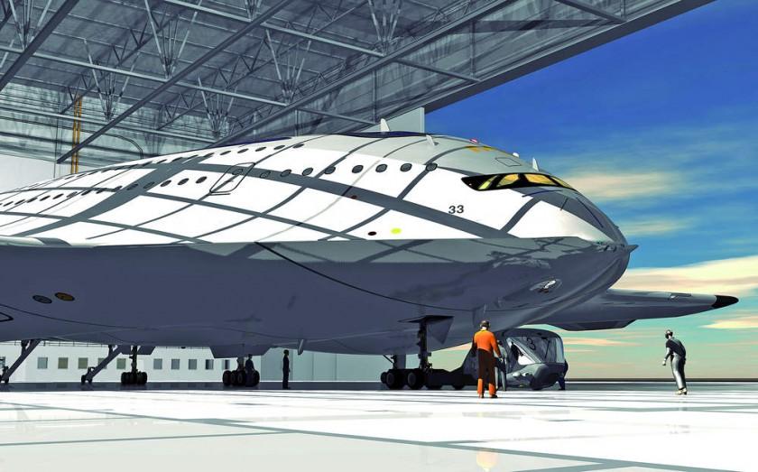 Detalle de la parte delantera del moderno avión diseñador por Viñals, el HSP Magnavem.