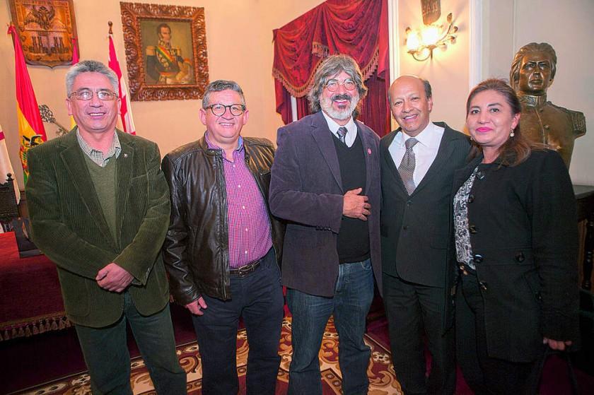 Alberto Quiroga, Edgar Ruck, Bernardo Gantier, Ricardo Caballero  y Virginia Córdoba de Caballero.