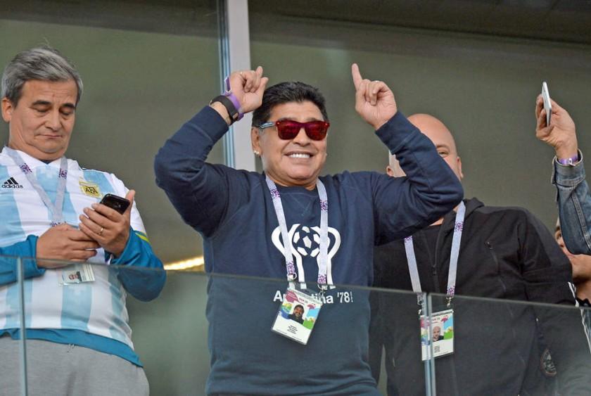 Diego Maradona estuvo en el estadio para alentar a su selección.