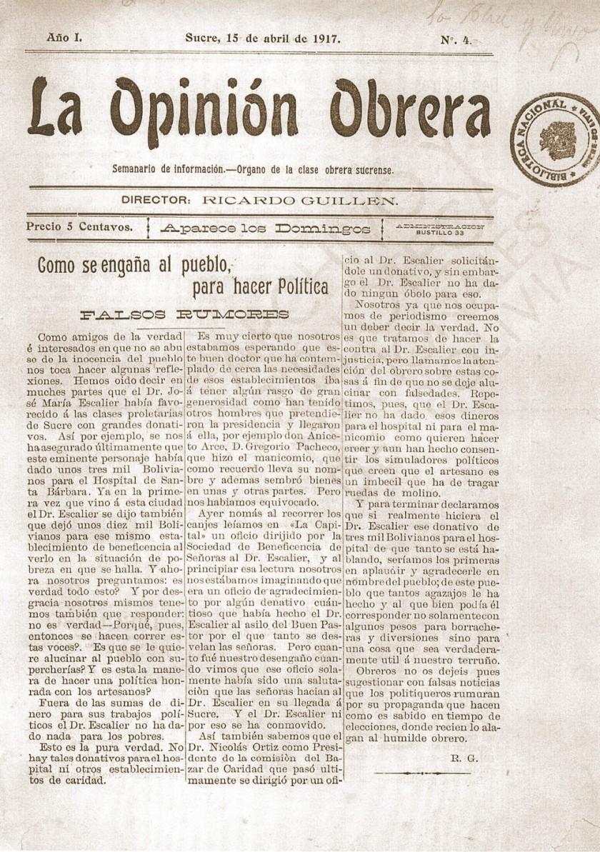 El periodismo obrero de Sucre