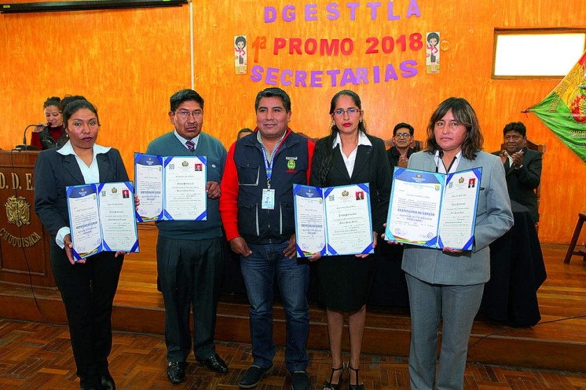 Yanet Rocabado, Hipólito Choque, Humberto Tancara, Fabiola Poppe e Iscela Guevara.