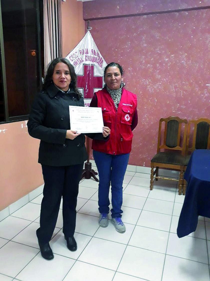 Lubinka Jara (Lab. Inti)  y Cristina Roncal.