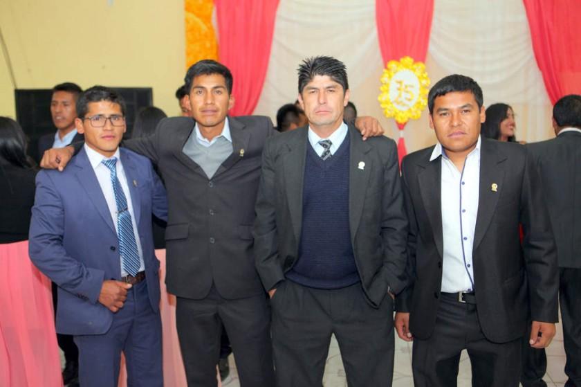 Directiva del Colegio de Árbitros de Chuquisaca: Iván Mostajo, Raúl Vives, Adolfo Martínez y Oliver Castellón.