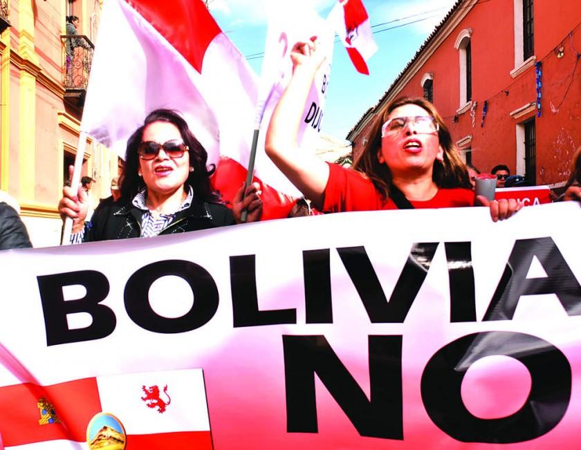 POTOSÍ. Cívicos y plataformas ciudadanas hicieron escuchar su voz de protesta contra la reelección y por el 21F, ayer.