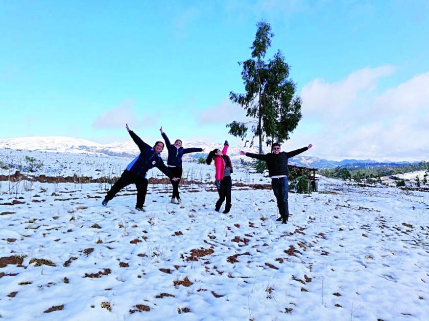 INOLVIDABLE. La nevada llegó a los alrededores de Sucre como efecto del viento.
