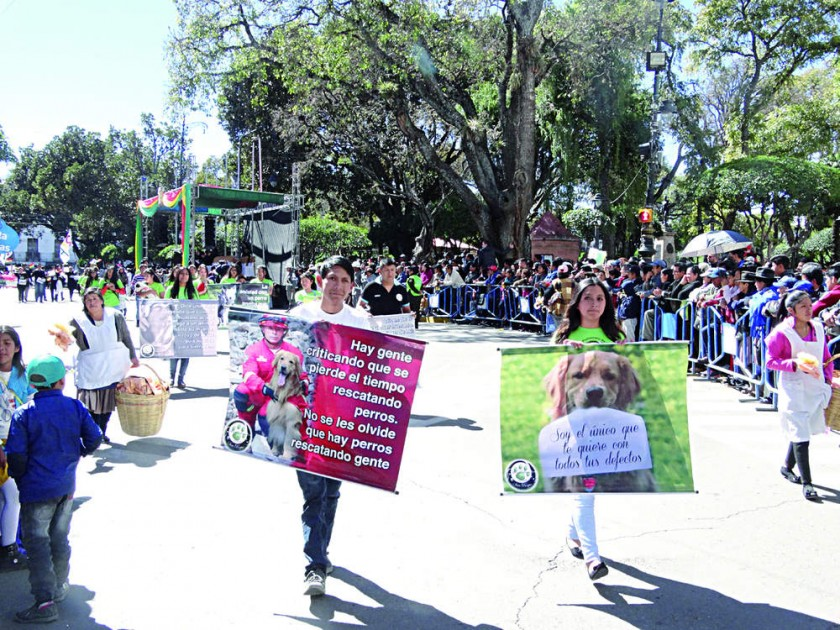 ACTIVISTAS. Una de las asociaciones protectoras de animales rindiendo su homenaje a la Patria.