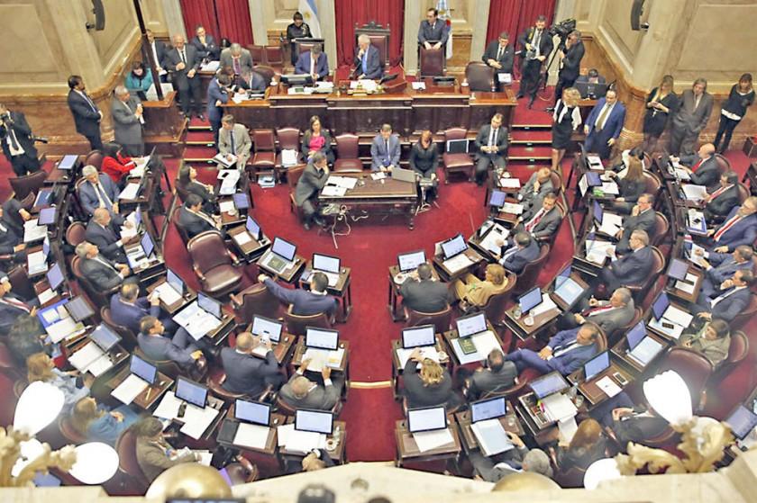 DEBATE. Las vigilias realizadas en afueras de la Cámara de Senadores que ayer sesionó durante toda la jornada.