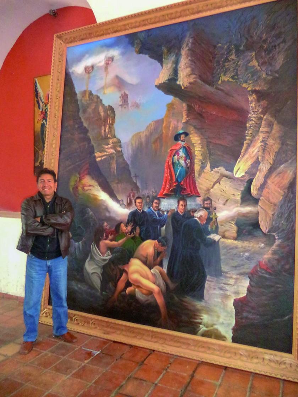 Cuadro de la entronizacion de San Bartolomé junto a su autor.