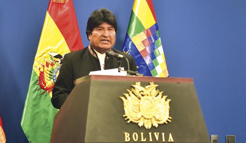 DIPLOMACIA. El presidente Evo Morales en conferencia de prensa, anoche.