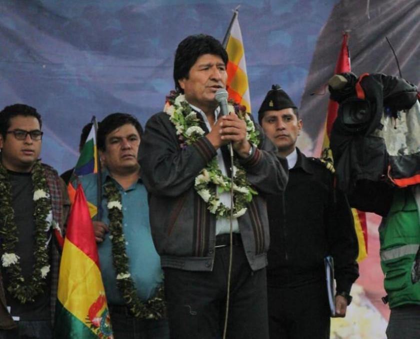 El presidente Evo Morales en la marcha de hoy en Sucre. FOTO: José Luis Rodríguez
