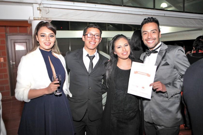 Lucero Rosso, Kevin Velarde, Danitza Rivera y Rodrigo Alcoreza, mención de honor en logros culturales.