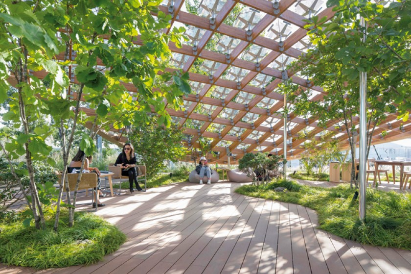 """Interior de la casa """"Jardín viviente' expuesta en Pekín."""