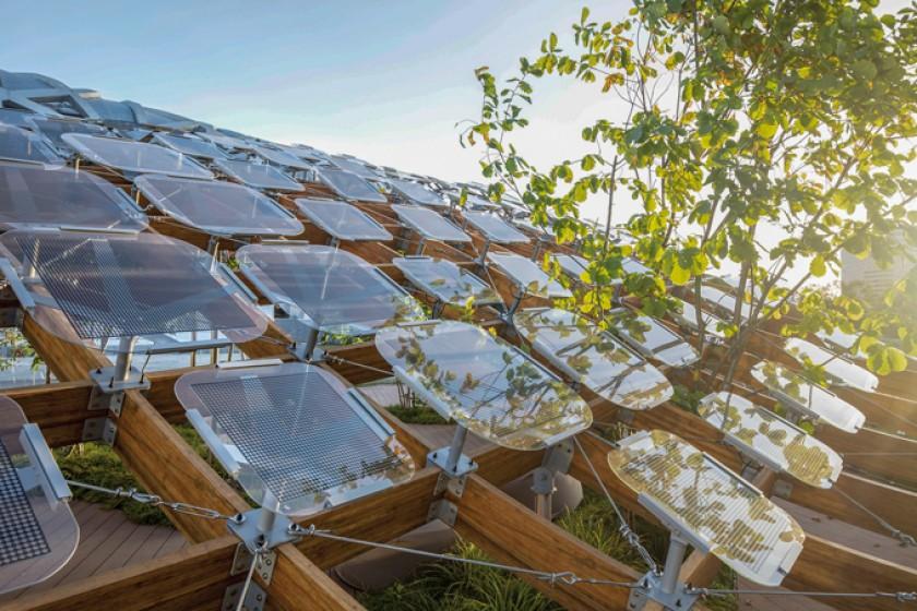 """Detalle de los paneles solares que están sobre la estructura del """"Jardín viviente""""."""
