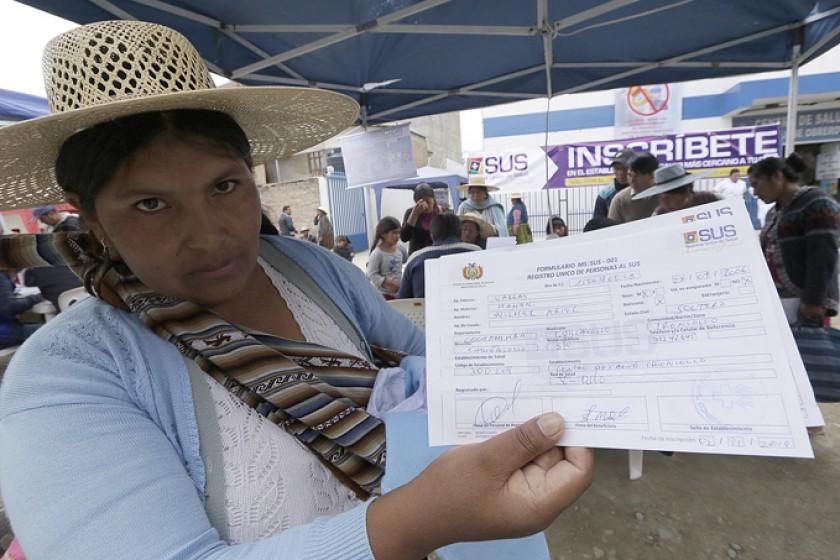 REGISTRO. La inscripción al SUS comenzó en Cochabamba.
