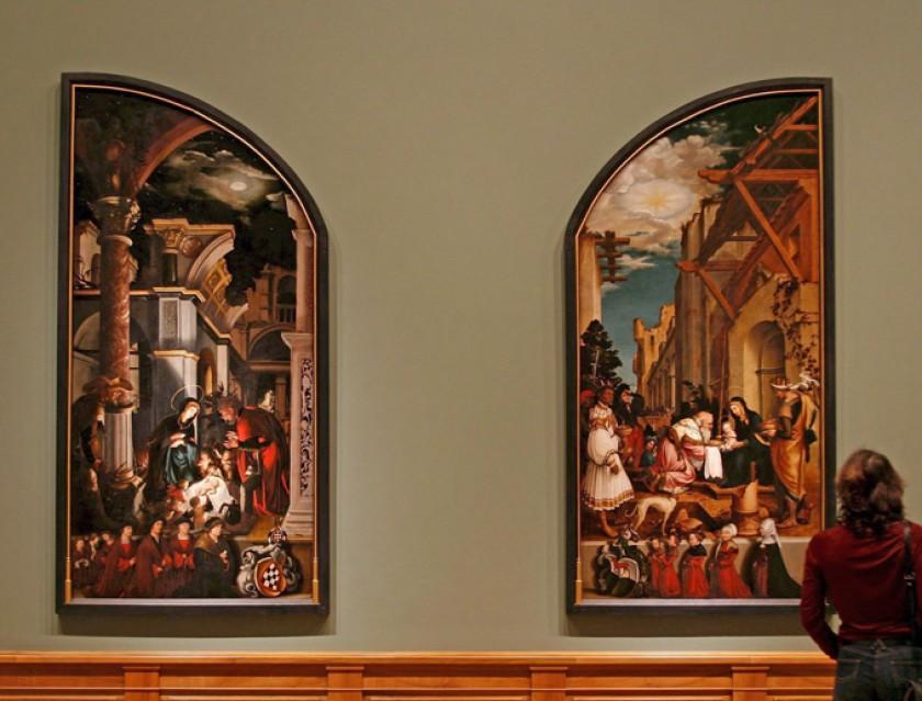 """Las pinturas de Hans Holbein el Joven titulada """"El nacimiento de Cristo"""" (i) 1520 y """"La adoración del Rey Mago"""" (d) 1520"""