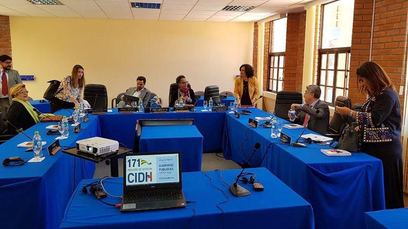 La Comisión Interamericana de Derechos Humanos (CIDH) en su sesión en Sucre. FOTO: CORREO DEL SUR