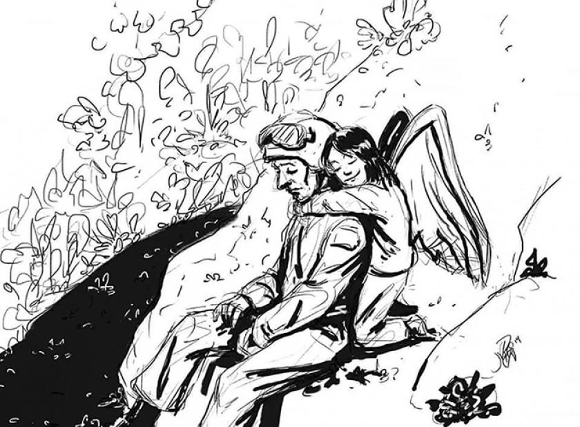 HOMENAJE. El ilustrador Miguel Mealla reflejó el momento de Marvel y su angelito Keyla. Sin palabras...