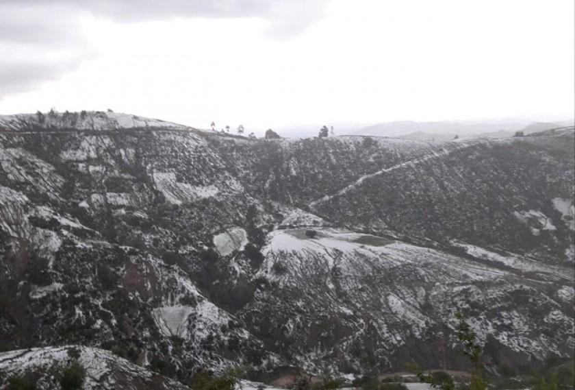 POROMA. Una granizada cayó ayer por la tarde en la comunidad de Kullcu ocasionando daños que se encuentran en evaluación
