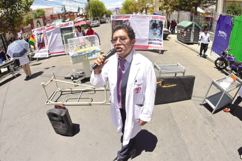 La protesta en La Paz.