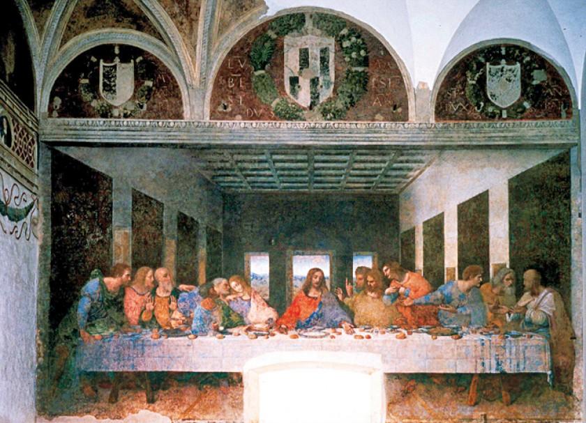 """""""La última cena"""", de Leonardo da Vinci, en la catedral de Santa Maria delle Grazie, en Milán. De izquierda a derecha, la"""
