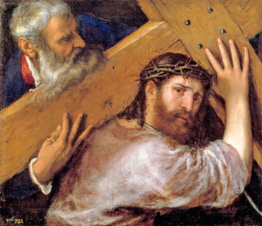 """""""Cristo con la cruz a cuestas"""" (Tiziano). Foto cedida por el Museo Nacional del Prado"""