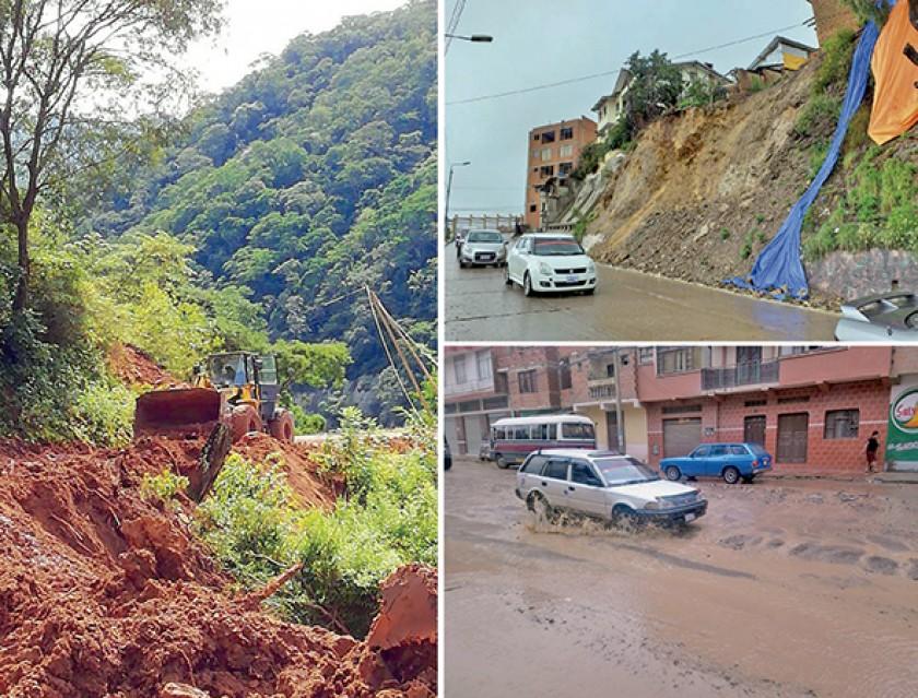 TEMPORAL. Caminos intransitables en el Chaco, muros desplomados y calles convertidas en ríos en Sucre.