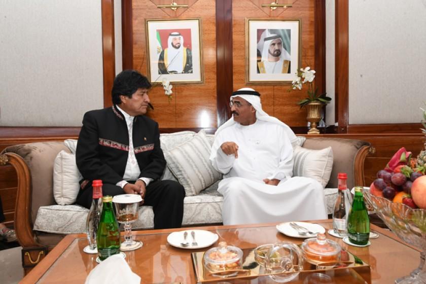 DUBÁI. El presidente Evo Morales con el príncipe Encargado de Asuntos Políticos e Inversiones, Sheikh Ahmed bin Dalmouk