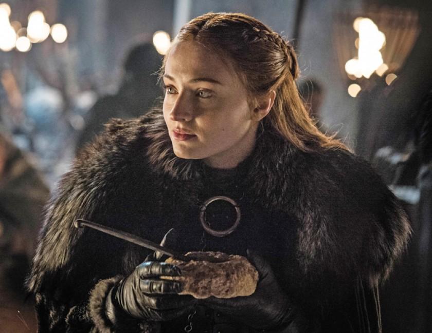 Sophie Turner caracterizada como Sansa Stark en la serie de Juego de Tronos.